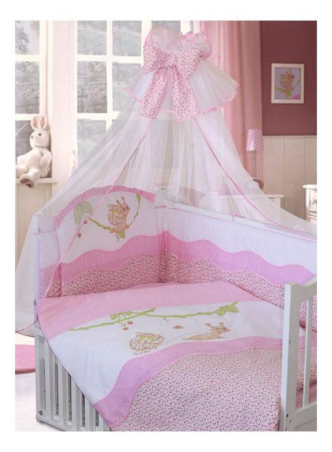 Комплект в кроватку Золотой гусь 7 предметов Улыбка розовый фото