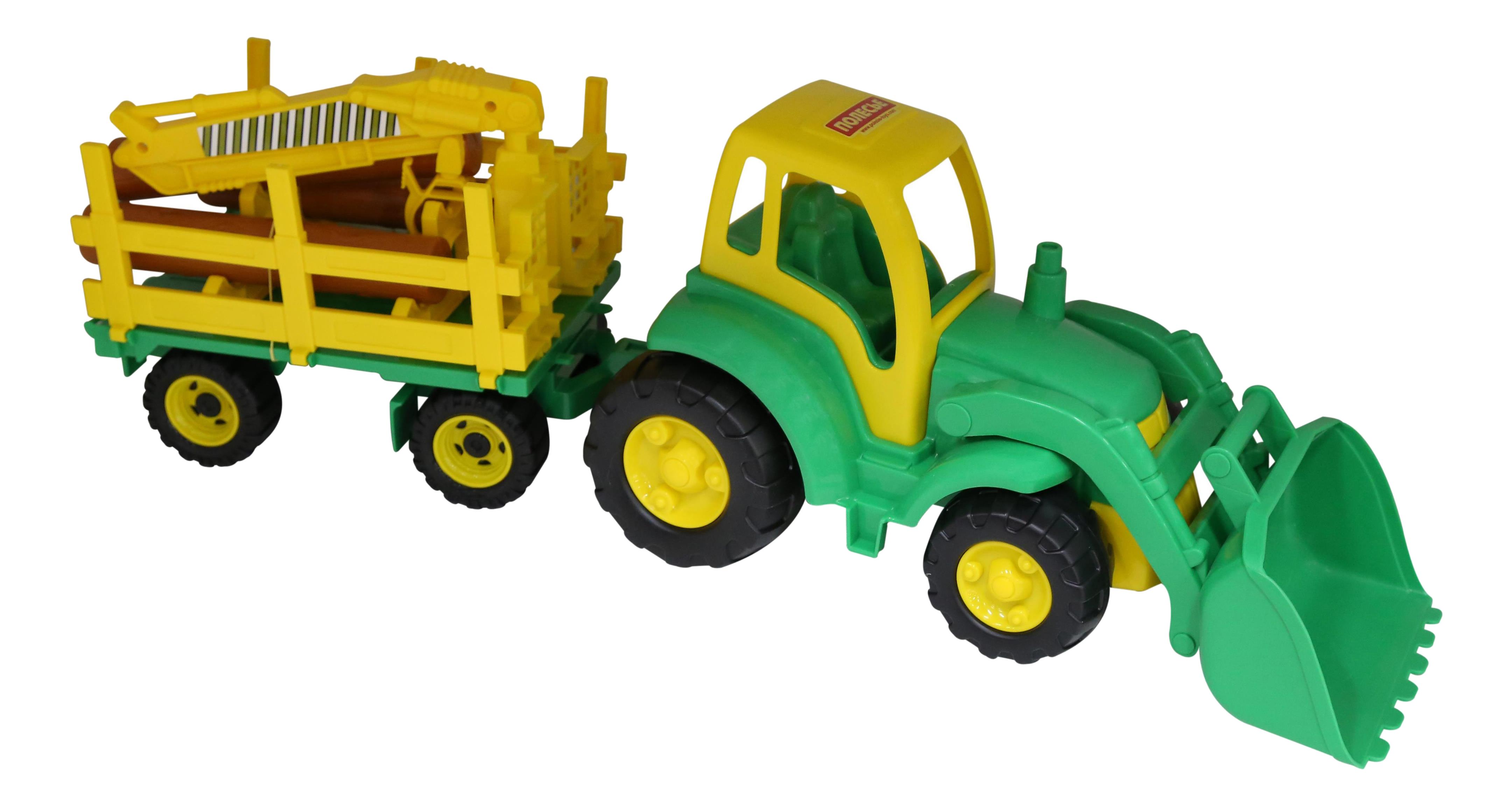 Трактор Полесье Чемпион c ковшом + прицеп-лесовоз фото