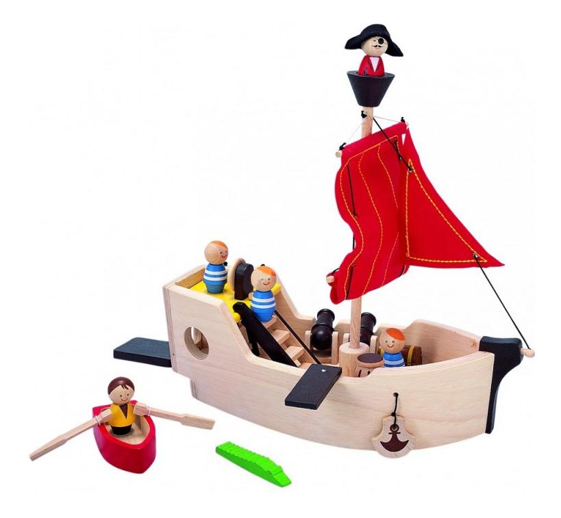 Купить Деревянная игрушка для малышей PlanToys Пиратский корабль, Развивающие игрушки