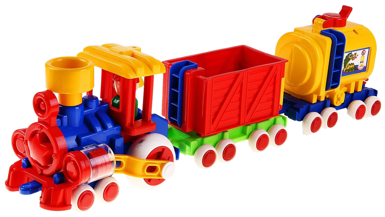 Купить Железнодорожный набор Форма Паровозик Ромашка С-119-Ф с 2 вагонами, Детские железные дороги