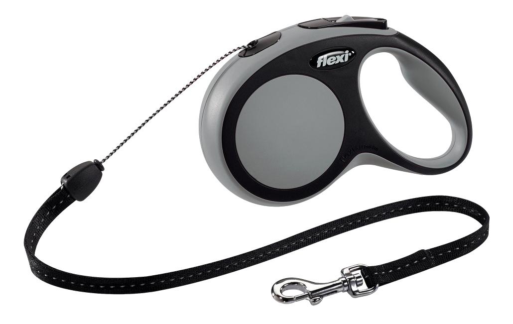 Поводок-рулетка для собак flexi New Comfort, трос, серый, S, до 12 кг, 8 м