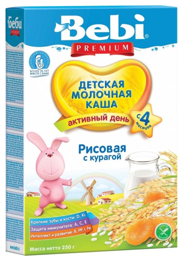 Купить Рисовая с курагой 250 г, Молочная каша Bebi Рисовая с курагой с 4 мес 250 г, Детские каши