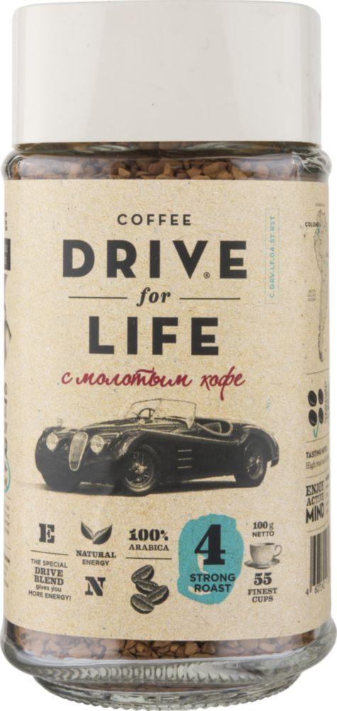 Кофе растворимый Drive for Life strong roast с молотым 100 г фото