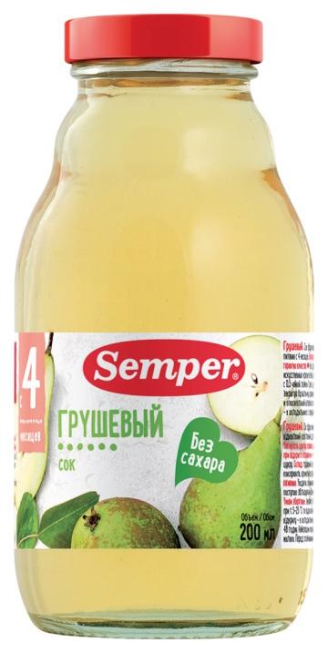 Сок Semper Грушевый б/с с 4