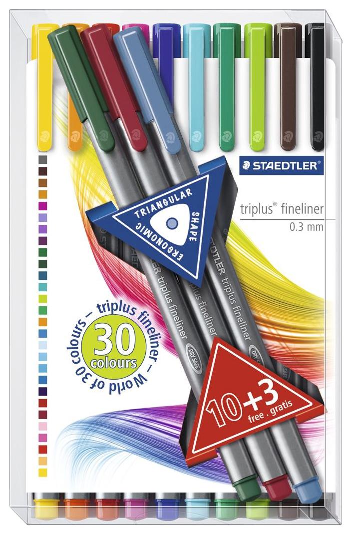 Ручка капиллярная Staedtler Triplus набор 10+3 цвета, пластиковый бокс