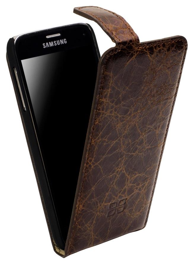 Кожаный чехол флип Bouletta /Стандарт/ Коричневый-VS5 для Samsung Galaxy S5 Mini, Bouletta