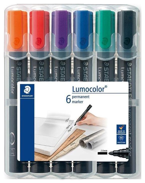 Набор перманентных маркеров Staedtler Lumocolor 6 шт, 2 мм.