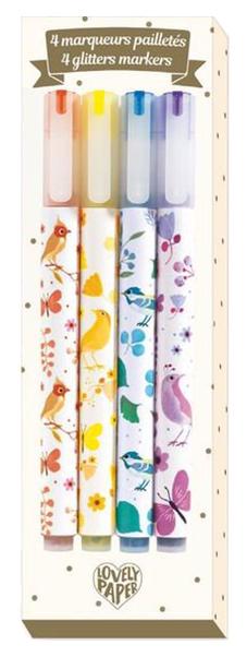 Купить Фломастеры Lovely Paper с блестками 4 штуки, Фломастеры с блестками, 4 штуки Djeco DD03740