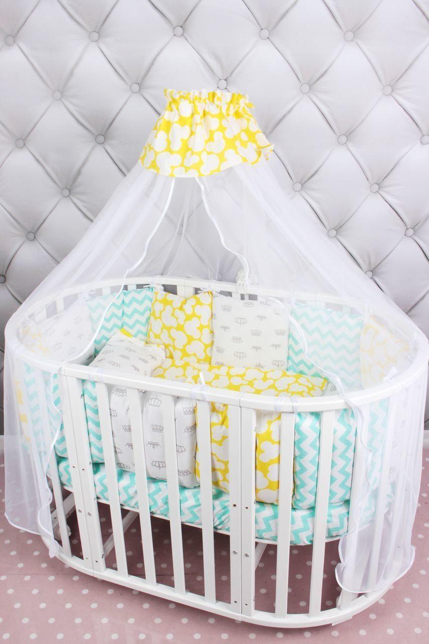 Купить Комплект в кроватку 19 предметов AmaroBaby HAPPY BABY (мятный/желтый, бязь), Комплекты детского постельного белья