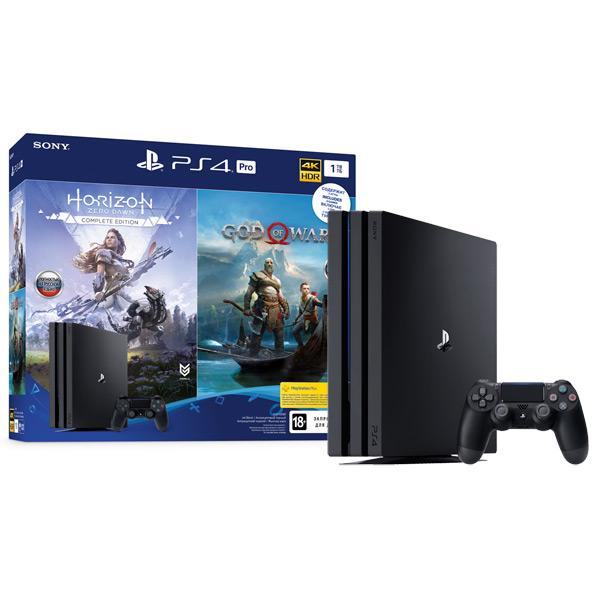 Игровая консоль PlayStation Sony 4 Pro 1TB Black+Horizon Zero Dawn/God Of War (CUH-7208B) фото