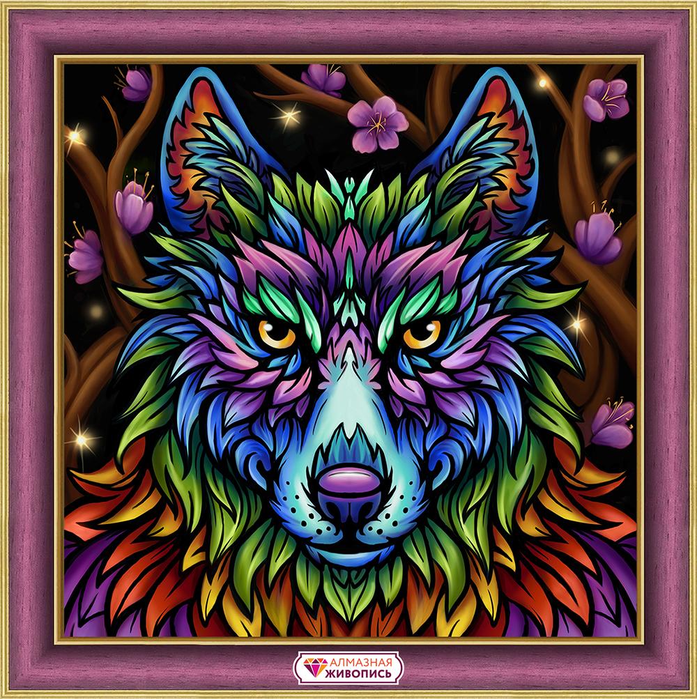 Картина стразами «Радужный волк» (АЖ-1754)