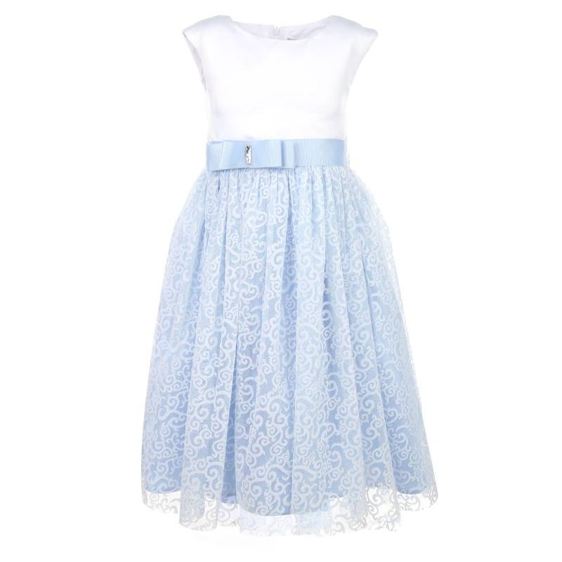 Купить Платье Снегурочка-флок UNONA D'ART, цв. голубой, 128 р-р, Детские платья и сарафаны