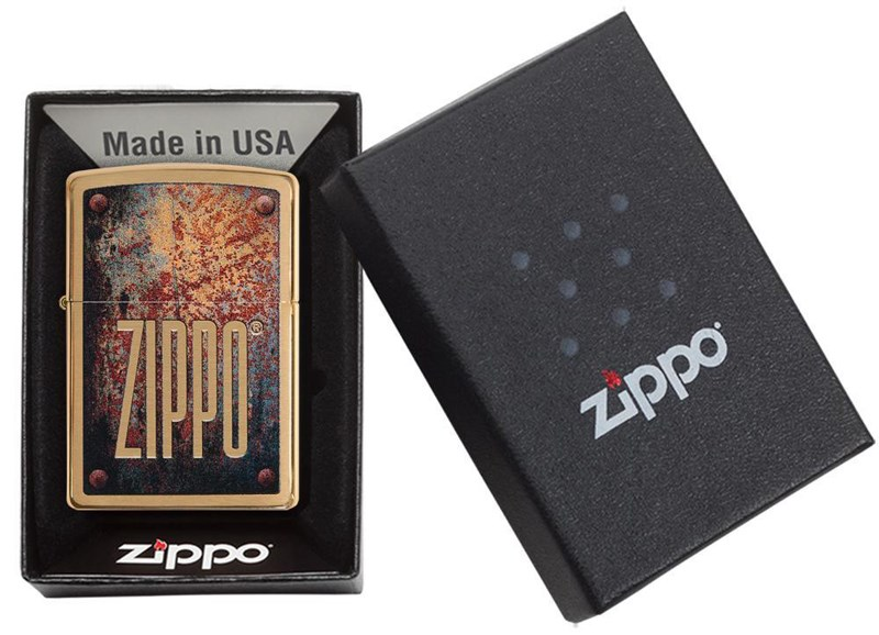 Зажигалка Zippo Rusty Plate Brushed Brass фото