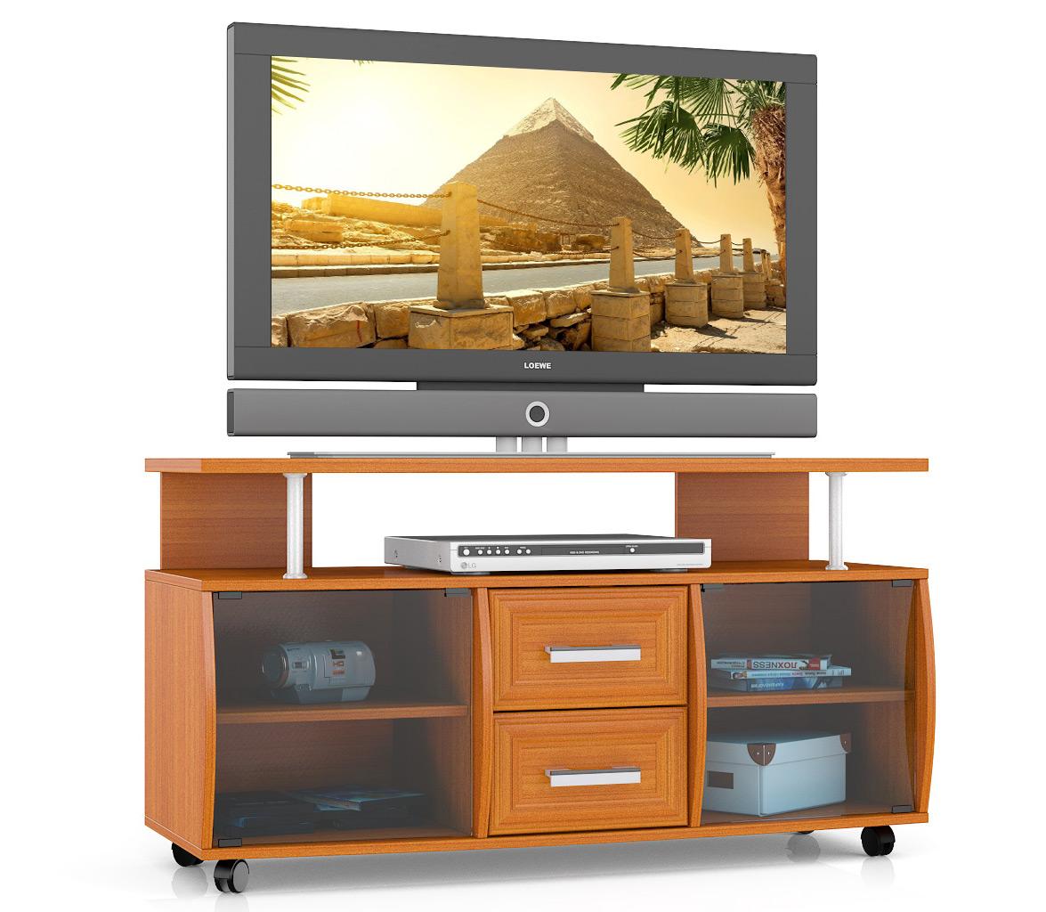 Тумба под телевизор выкатная Мебельный Двор Т9 120х45х65 см, вишня