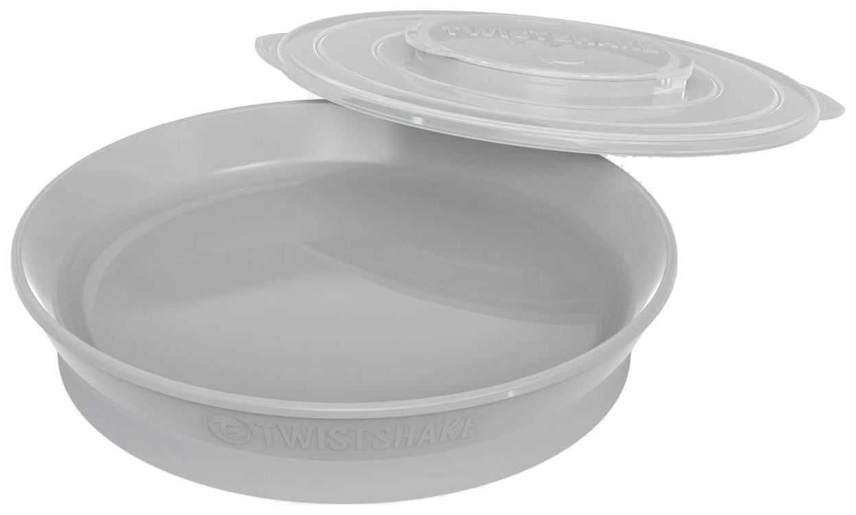 Тарелка с разделителями Twistshake, цвет: пастельный серый