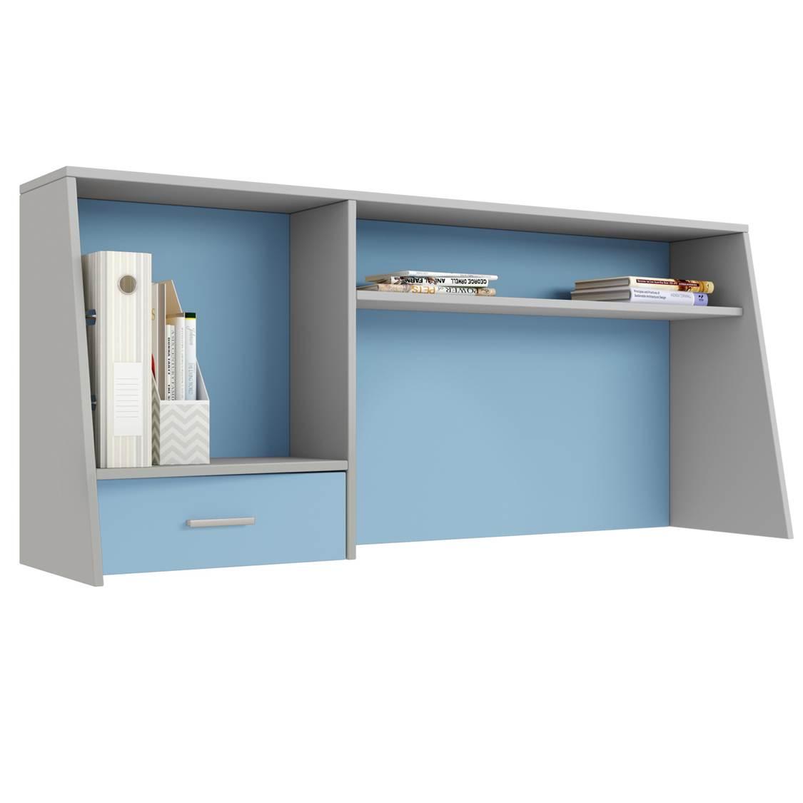 Надстройка для cтола Polini kids Aviv 1450 с ящиком и полкой, серый/голубой