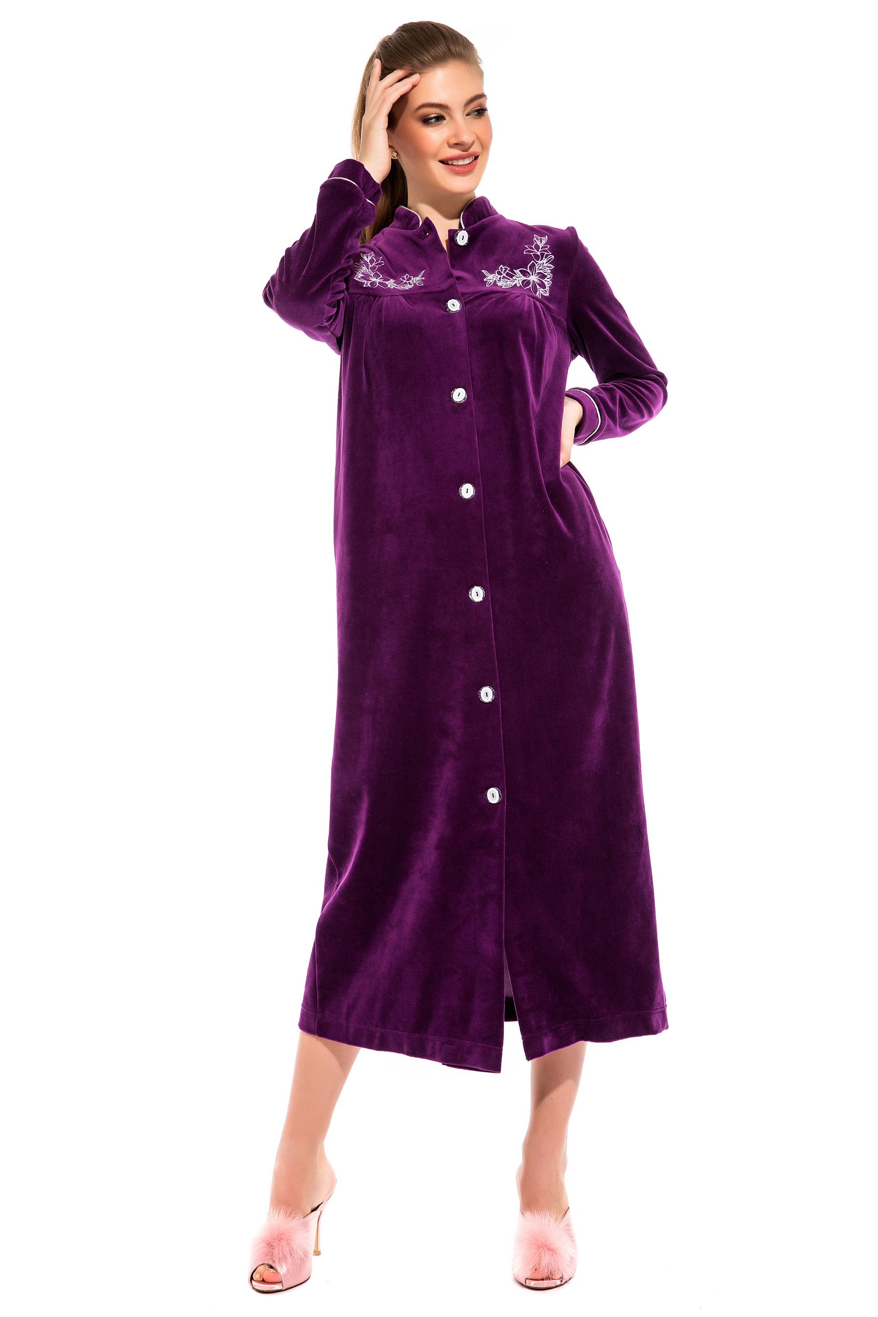 Велюровый халат на пуговицах AURORE (PM 391), цвет фиолетовый, размер XL (50-52)