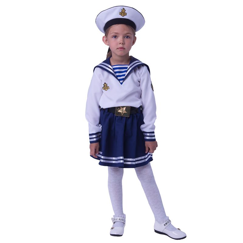Карнавальный костюм Батик Морячка, цв. белый; синий