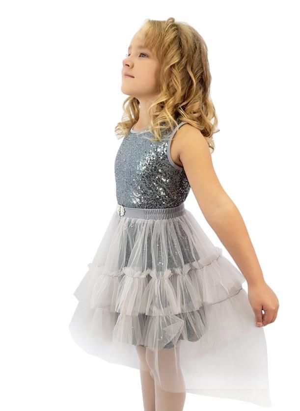 Платье нарядное Minavla Вероника серое, размер 140 фото