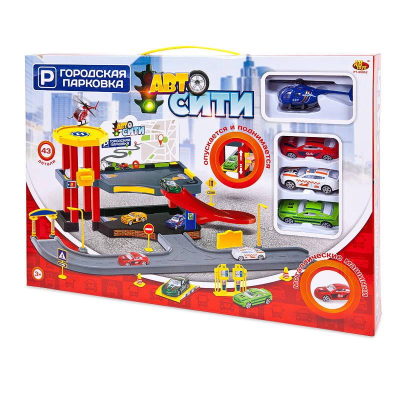 Купить Парковка АвтоСити, 2-х уровневая, 43 детали PT-00862 ABtoys, Детские автотреки