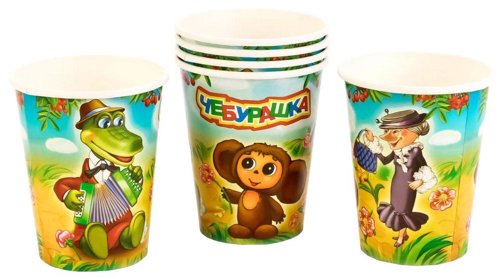 Набор одноразовых стаканов Веселый праздник разноцветный