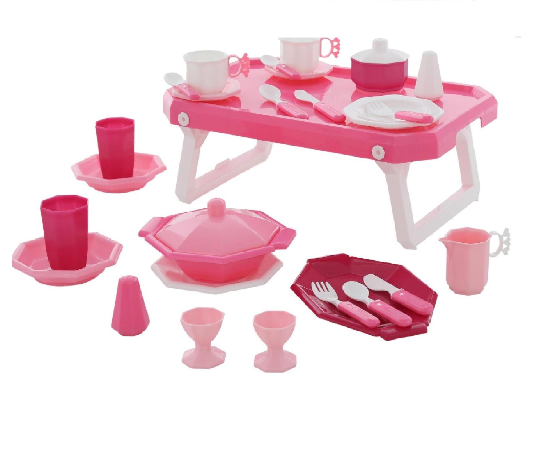 Купить Набор детской посуды Ретро с подносом 29 элементов в сеточке Wader 61737_PLS, Игрушечная посуда