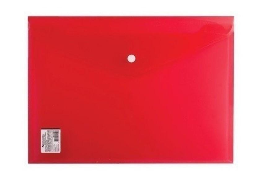 Папка-конверт с кнопкой А4, прозрачная, плотная, красная