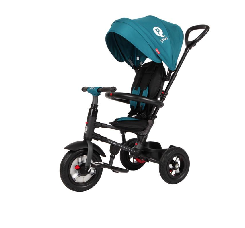 Купить Велосипед детский QPlay трёхколёсный складной зелёный QA6G, Q-play, Детские велосипеды-коляски