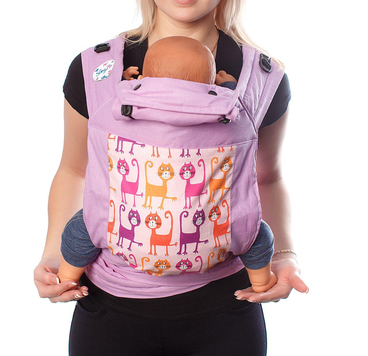 Купить Май-слинг, Май-слинг SlingMe Коты фиолетовый, Слинги для новорожденного