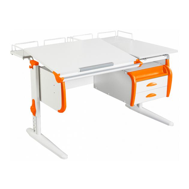 Парта Дэми СУТ-25-04 WHITE DOUBLE со столешницей, приставками белый, оранжевый, белый,