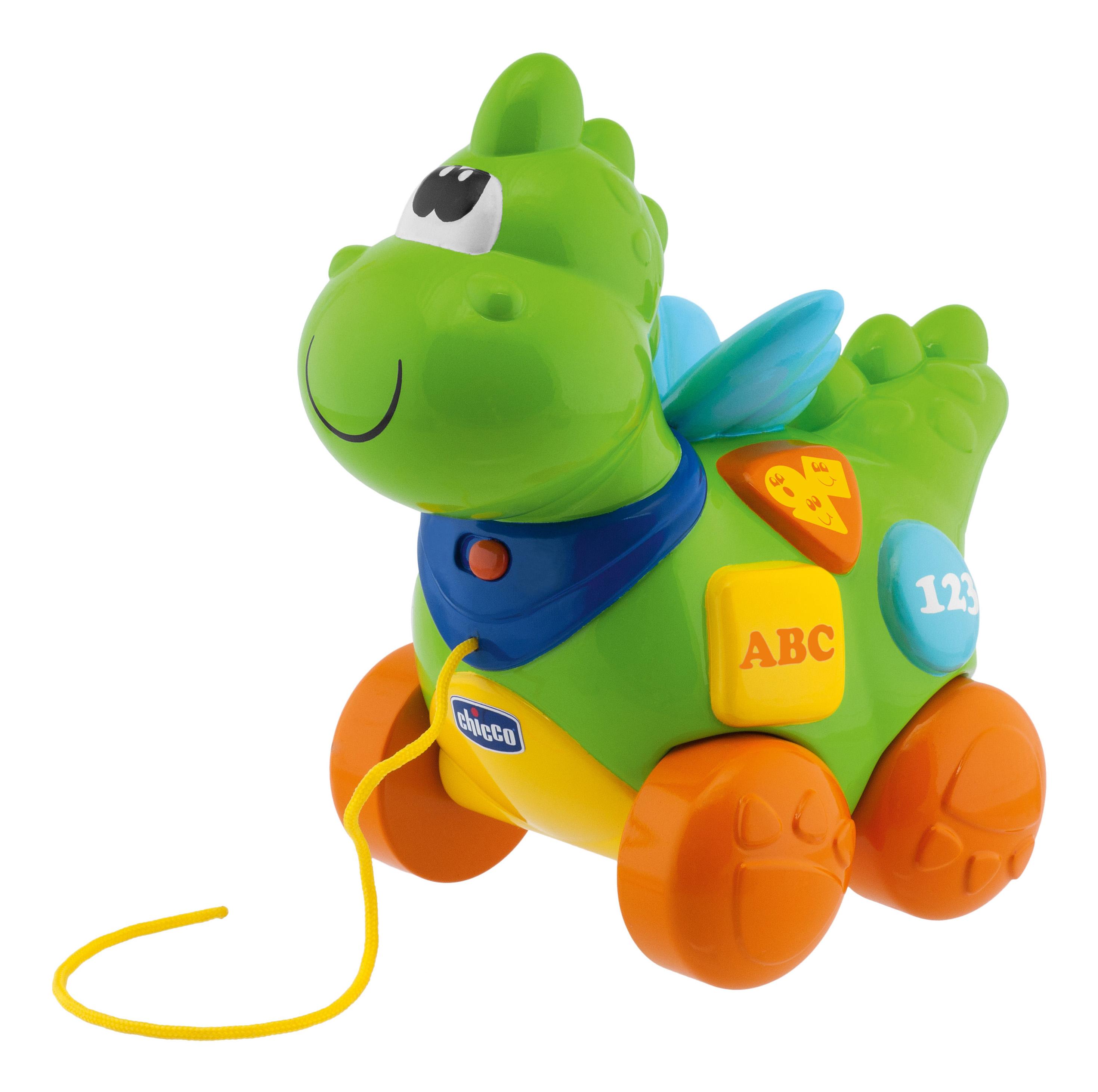 Купить Дракон, Игрушка Chicco Говорящий дракон на колесиках (Русский, Английский) 3880, Развивающие игрушки