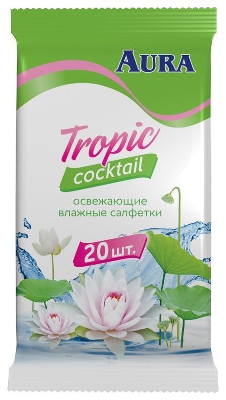 Купить Влажные освежающие салфетки Aura Tropic Coctail 20 шт