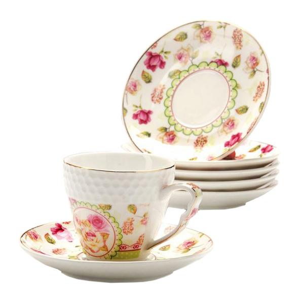 Кофейный сервиз Loraine Розы 25792 Белый,розовый, зеленый