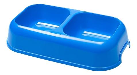 Двойная миска для кошек Ferplast, пластик, синий,