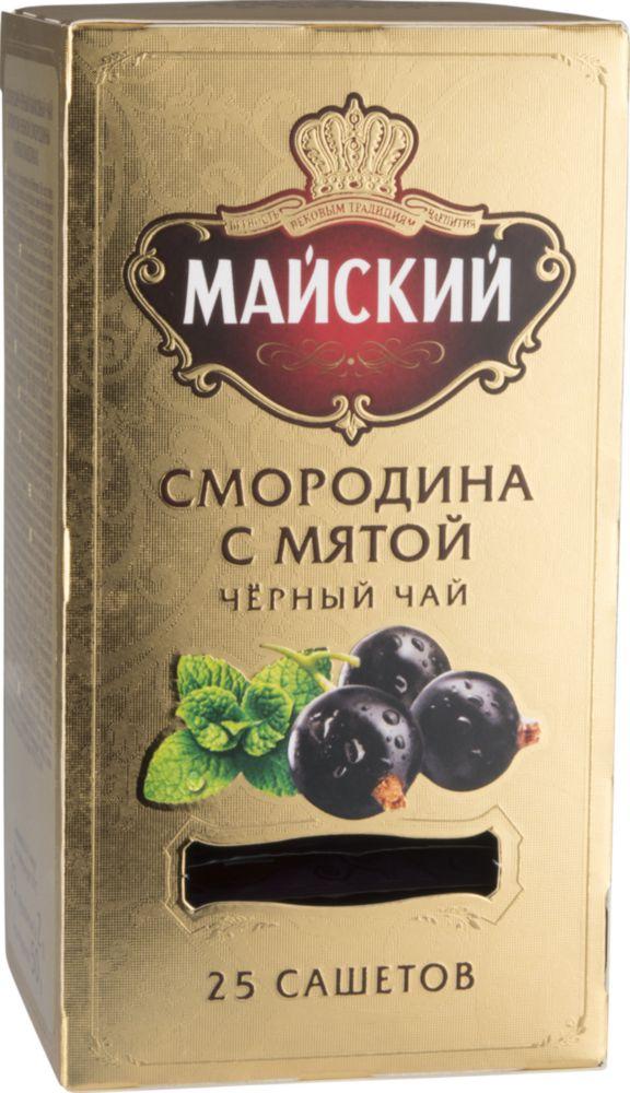 Чай черный Майский cмородина с мятой 25 пакетиков