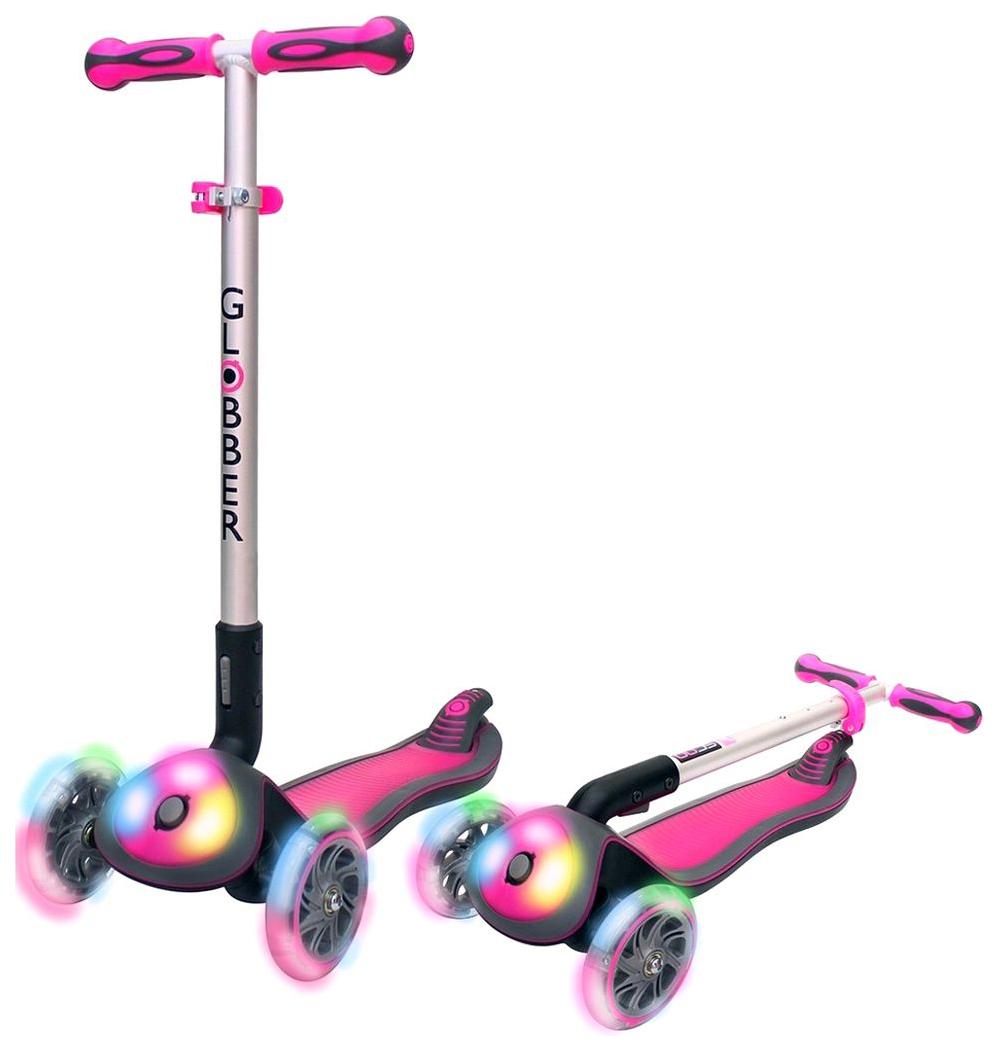 Самокат Y-SCOO Elite FL My Free Fold up со светящейся платформой и колесами розовый