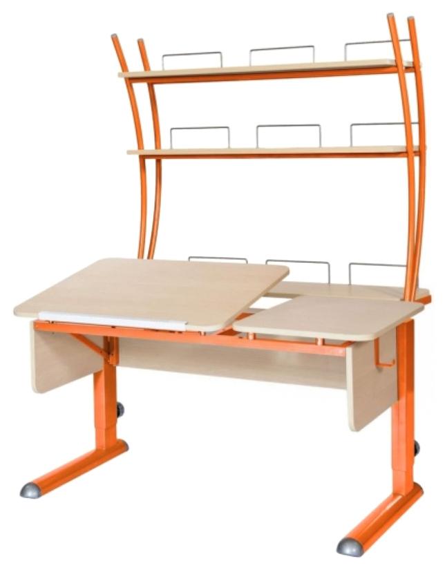 Парта Астек Твин 2 С надстройкой Береза Оранжевый