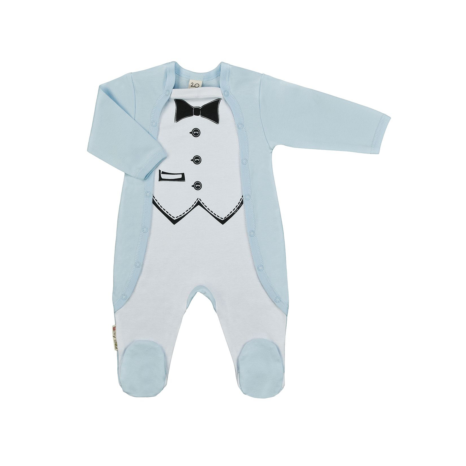 Купить Комбинезон детский Lucky Child Фрак 3-22 голубой р. 56-62, Трикотажные комбинезоны для новорожденных