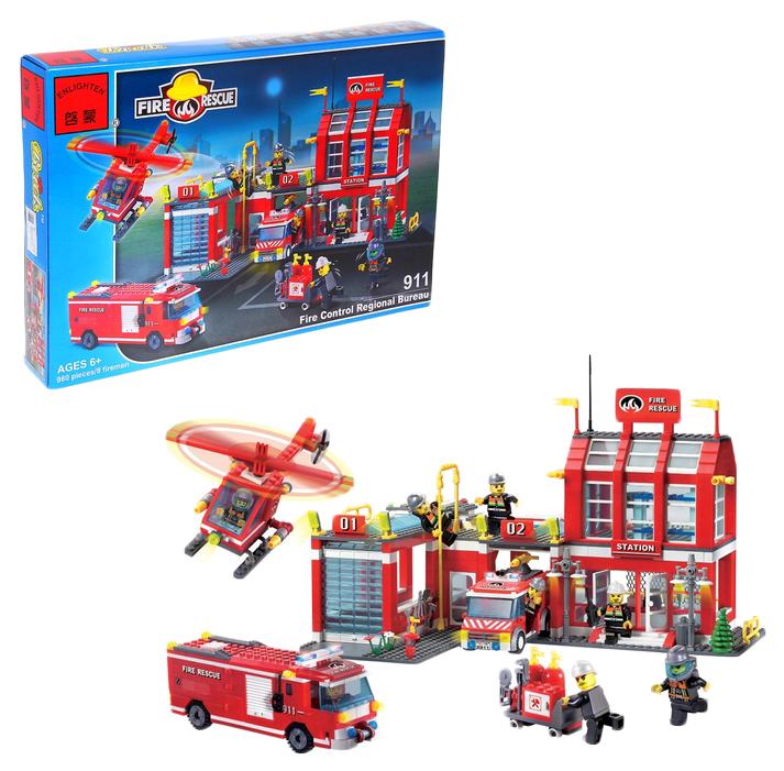 Купить Конструктор «Пожарная станция», 980 деталей и 8 пожарных Winner Bricks, Конструкторы пластмассовые