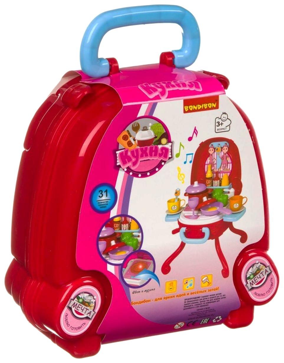 Купить Набор игровой в розовом чемоданчике 31 дет. со светом и звуком Bondibon, Детская кухня