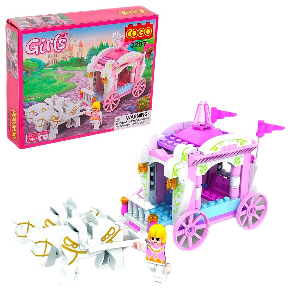 Купить Конструктор Cogo девчонки: королевская карета, 98 деталей, Конструкторы пластмассовые