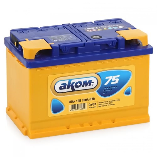 Аккумулятор АКОМ Standart 75 PR 12В 75Ач 700CCA 275x175x190 мм Обратная (-+) фото