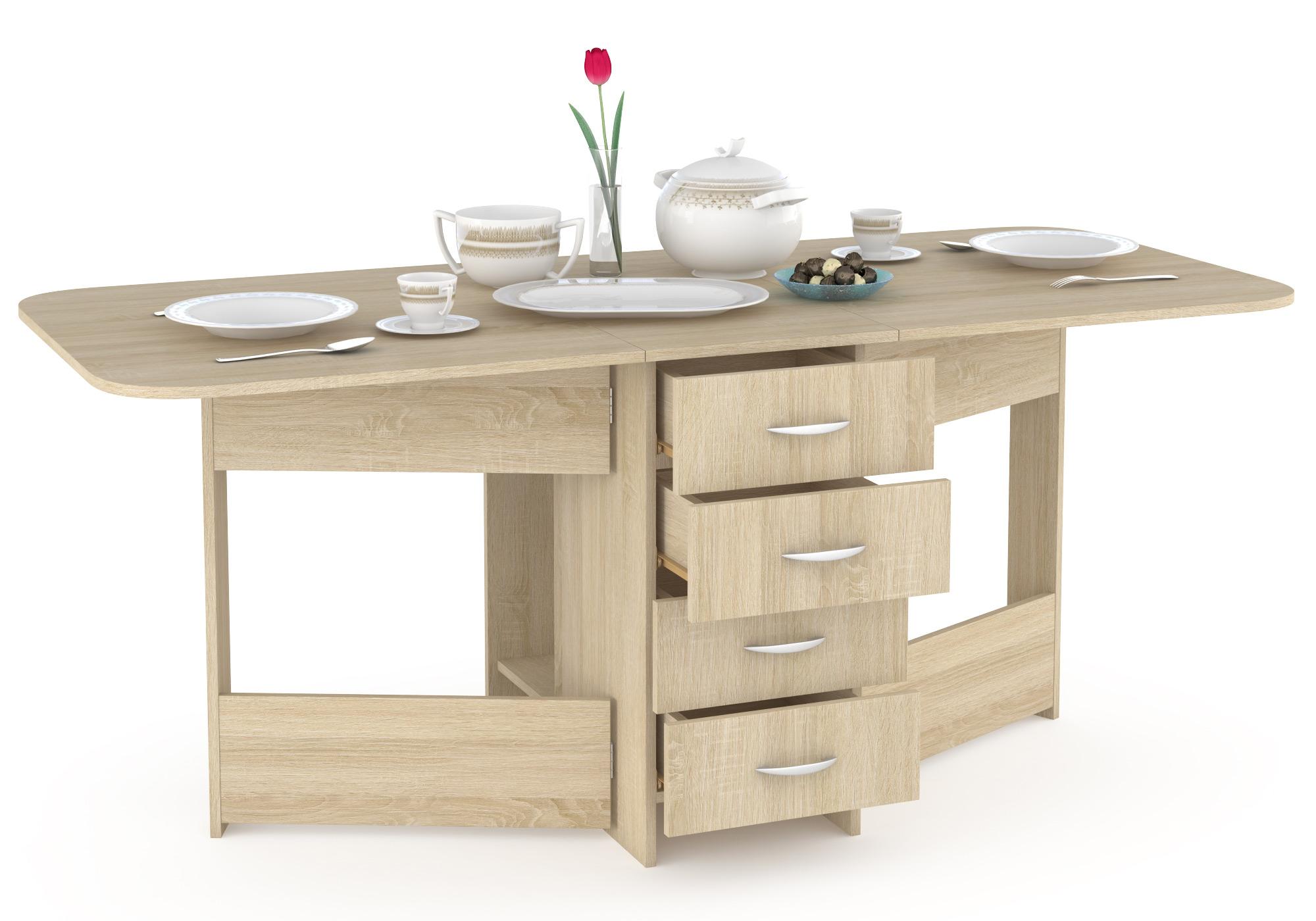 Кухонный стол Mobi Стол-книжка с ящиками Глория 606М дуб сонома 42х78х75 см