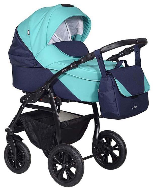 Купить Коляска 2-в-1 Indigo Alma (цвет: темно-синий, бирюзовый), Детские коляски 2 в 1