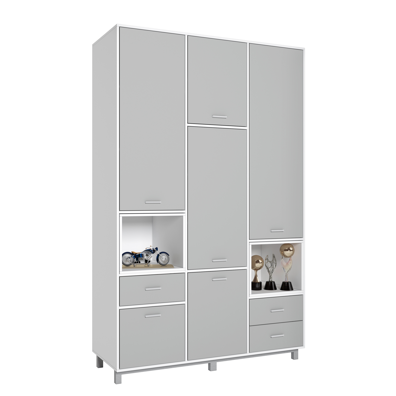 Купить Детский шкаф трехсекционный Polini kids Mirum 2335 белый-серый/белый, Шкафы в детскую комнату