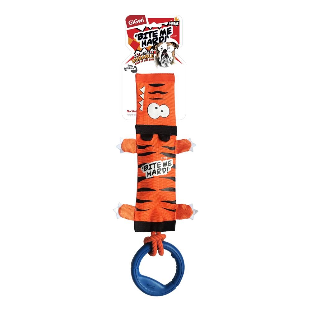 Мягкая игрушка для собак GiGwi Тигр с пищалкой веревкой и резиновым кольцом, длина 20 см фото