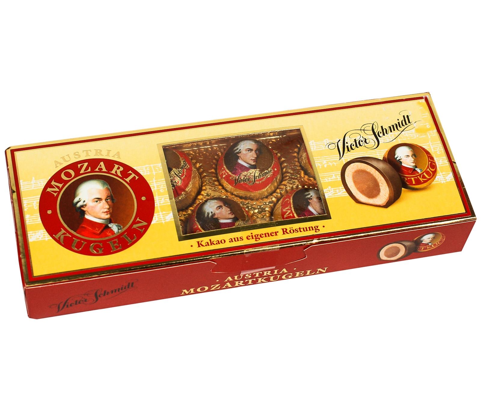 Конфеты MozartKugeln шоколадные с начинкой из марципана и пралине 132 г фото