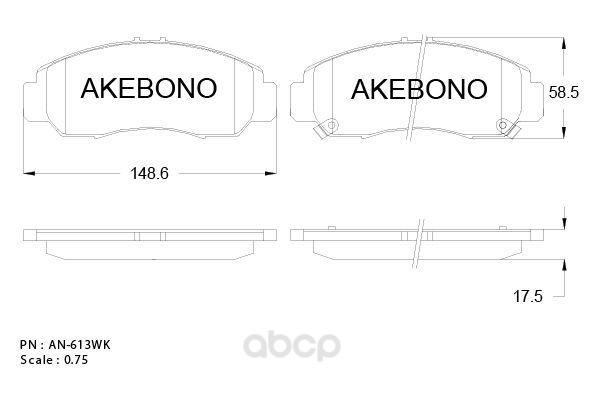 Колодки тормозные дисковые передние honda accord 02- Akebono AN-613WK фото
