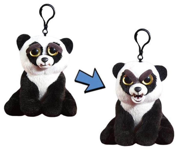 Купить Мягкая игрушка Abtoys Панда чёрно-белая, Feisty Pets, 11 см с карабином, Мягкие игрушки животные