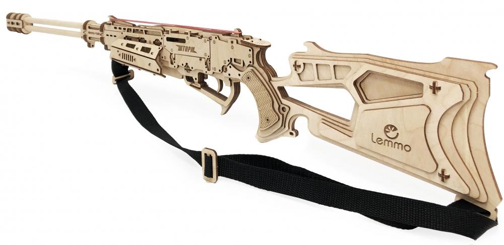 Купить Конструктор 3D деревянный Lemmo Ружье Шторм резинкострел, Деревянные конструкторы